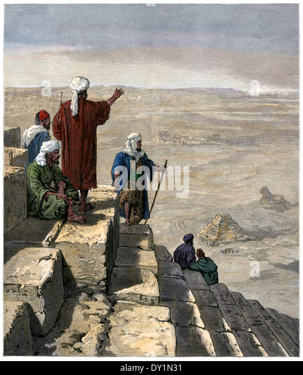 Egyptian lookouts on the pyramids of Gizeh, 1880s. - Stock Image
