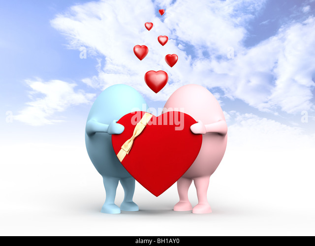 3D illustration of a cute couple of egghead characters in love holding a red valentine under blue sky - Stock Image
