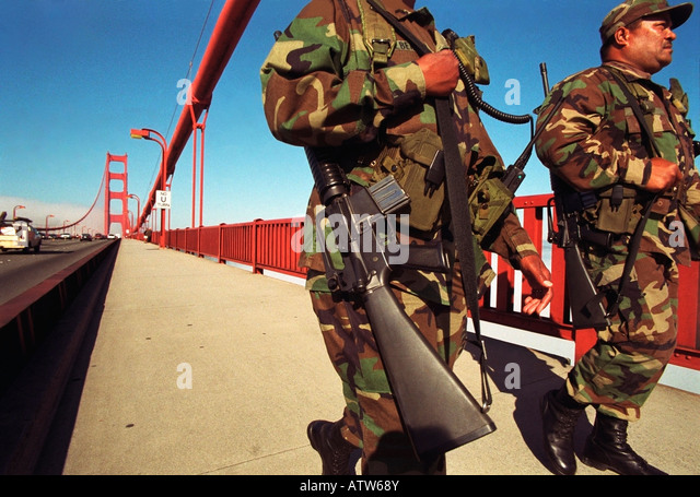 After 9/11/01, Two California National Guard Soldiers with M16 Rifles patrol the San Francisco Golden Gate Bridge. - Stock Image