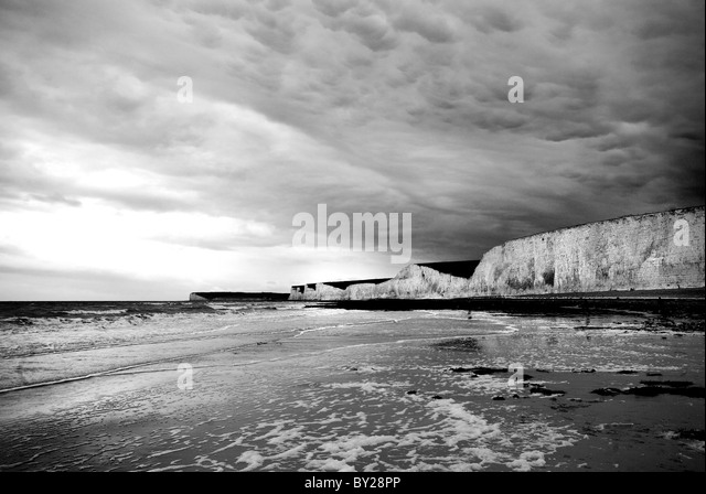 Seven Sisters cliffs and coastline East Sussex - Stock Image