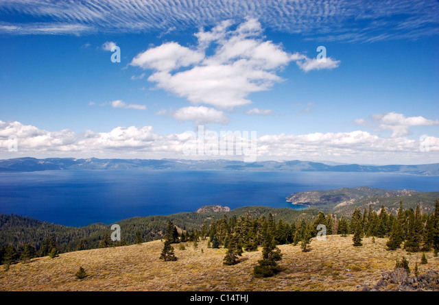 A view of Lake Tahoe from the Tahoe Rim Trail on the summit of South Camp Peak, Nevada. - Stock Image