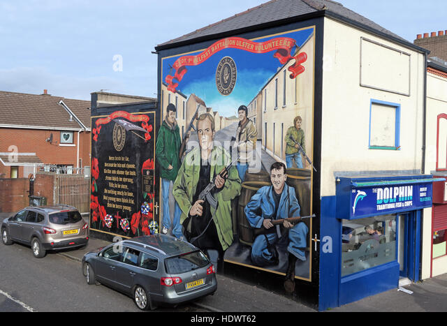 UFF volunteers Unionist mural, off Shankill Road West Belfast,Northern Ireland,UK - Stock Image