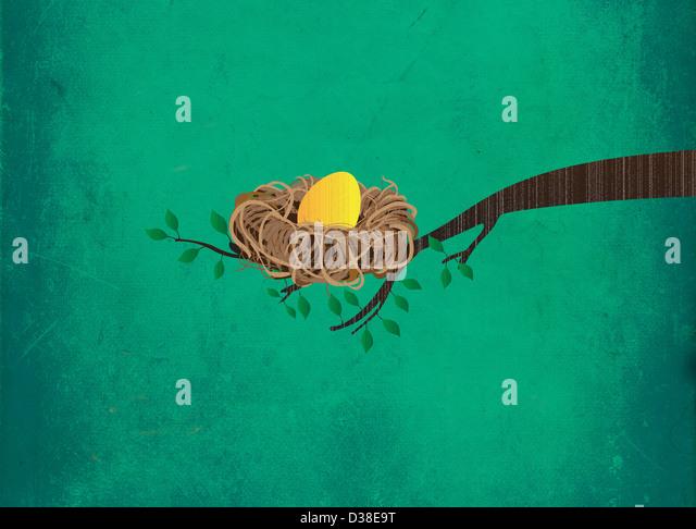 Illustrative image of golden egg in nest on branch representing investment - Stock-Bilder
