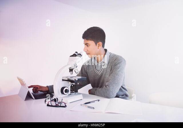 Fiji Indian boy using digital tablet and microscope - Stock-Bilder