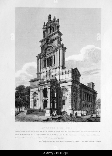 Antique etching of Saint Anne's, Limehouse - Stock-Bilder