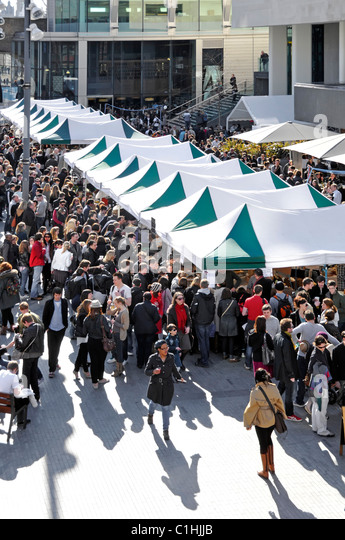 Royal Festival Hall forecourt being used for a weekend food market - Stock Image