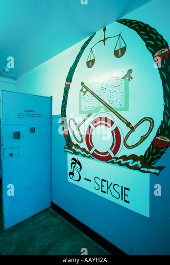 south africa cape town Robben Island prison island of Nelson Mandela during apartheid section B for political prisoners - Stock Image