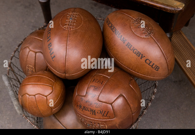 Classic brown leather Rugby Footballs - Stock Image