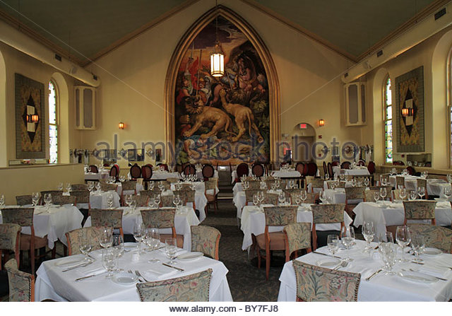 Pennsylvania Bucks County New Hope Marsha Brown Restaurant fine dining Creole cuisine converted church business - Stock Image