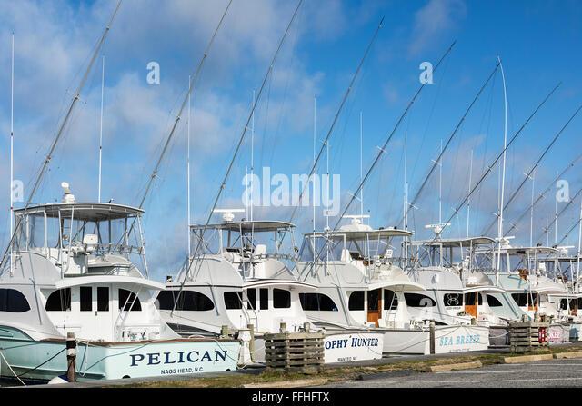 Docked pleasure fishing boats, Oregon Inlet, Nags Head, Outer Banks, North Carolina, USA - Stock Image