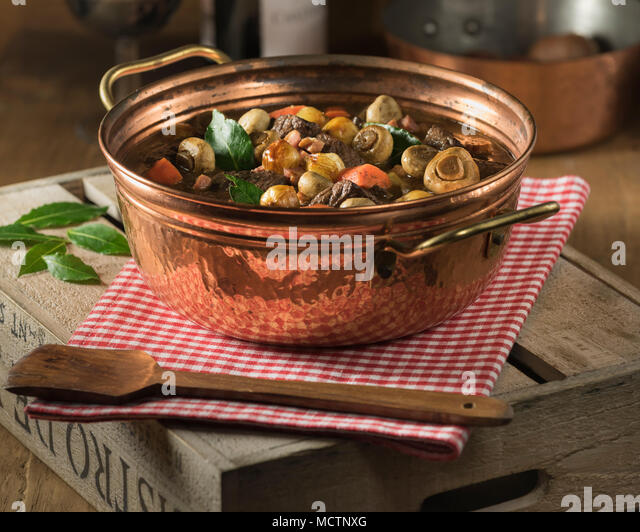 Beef bourguignon. Beef and red wine stew. Food France - Stock Image
