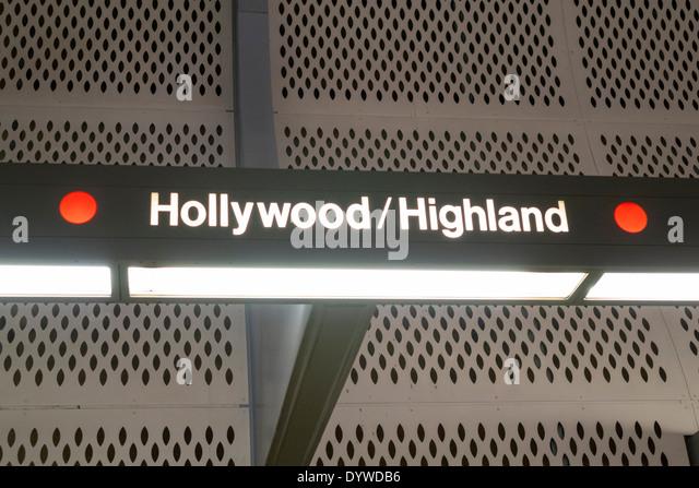 California CA Los Angeles LA County Metro Rail Red Line heavy rail subway mass transit public transportation Hollywood - Stock Image