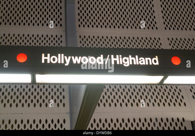 Los Angeles California CA LA County Metro Rail Red Line heavy rail subway mass transit public transportation Hollywood - Stock Image