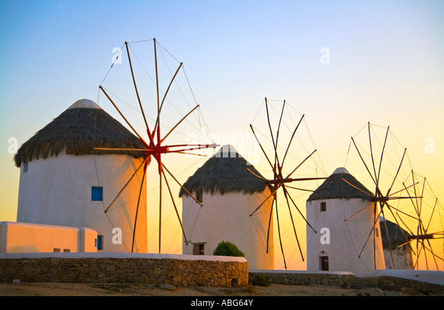Mykonos Iconic Windmills  Aegean Sea Greece Europe - Stock-Bilder