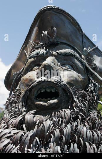 St. Thomas USVI Charlotte Amalie Blackbeard's Hill pirate sculpture - Stock Image