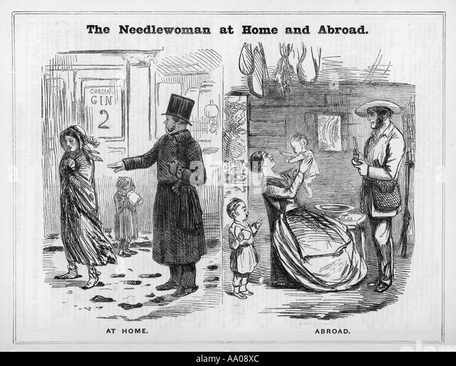 Needlewoman 1850 - Stock-Bilder