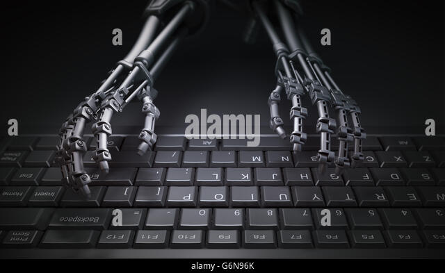 Robot typing on a computer keyboard - automation and AI research concept illustration - Stock-Bilder