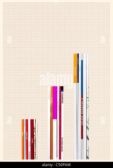 Magazines positioned to form a graph - Stock-Bilder