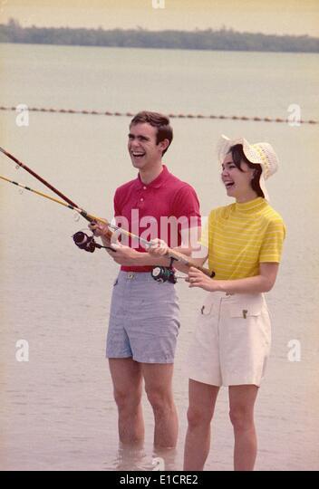 First daughter Julie Nixon Eisenhower with her husband, David, the grandson of President Dwight Eisenhower, fishing - Stock Image