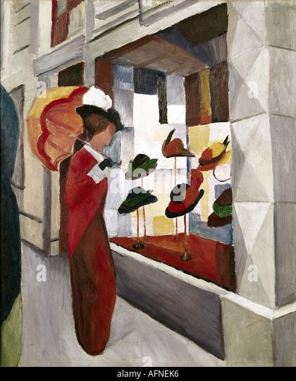 'fine arts, Macke, August, (1887 - 1914), painting, 'Frau mit Sonnenschirm vor einem Hutladen', ('woman - Stock-Bilder