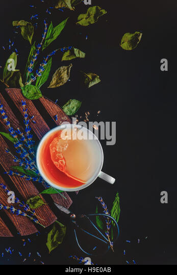 Herbal tea with lullaby Swirls and Waves Series - Stock Image