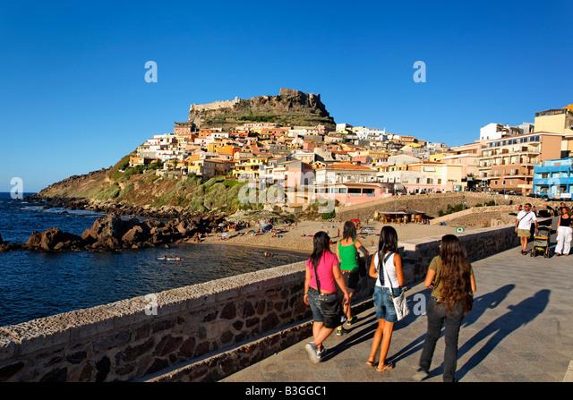 Italy Sardinia Castelsardo village promenade girls - Stock Image