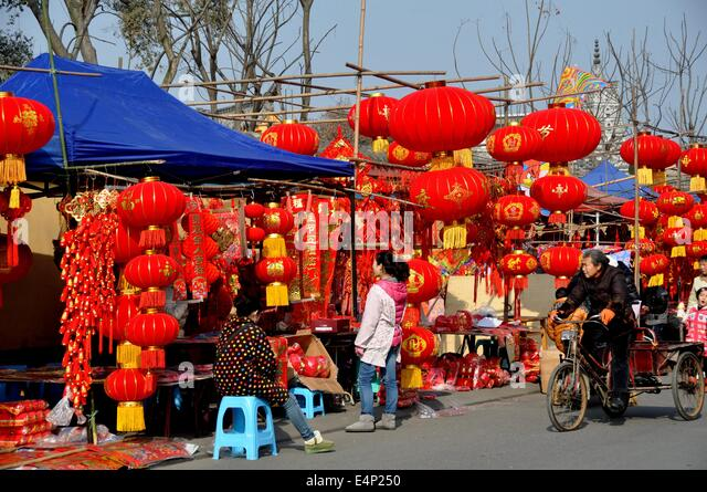 Chinese new year china street stock photos chinese new for Decoration vendors