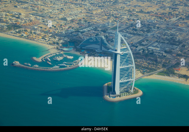 View of Burj Al Arab from seaplane, Dubai, United Arab Emirates, Middle East - Stock Image