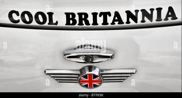 Cool Britannia Mini car badge. - Stock Image