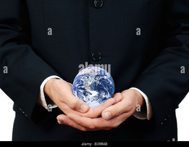 Businessman Holding Planet Earth Close Up - Stock Image
