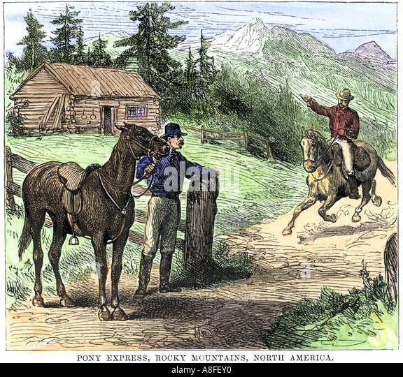 Pony Express rider coming into a relay station in the Rocky Mountains 1800s - Stock Image