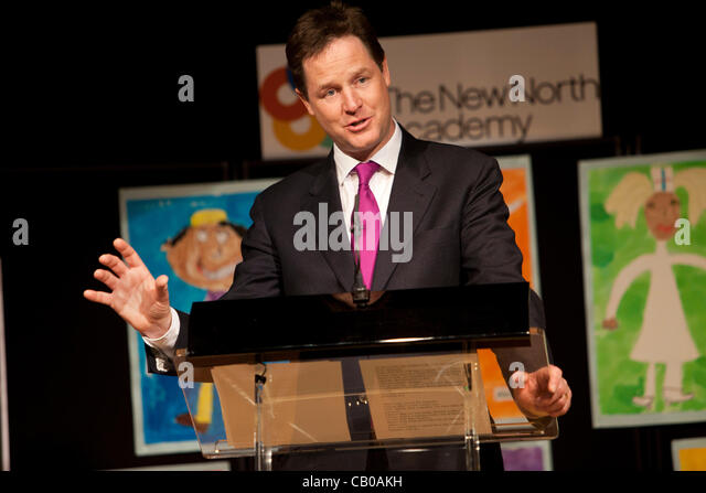 UK, LONDON- May 14,2012:Nick Clegg, British Deputy Prime Minister visits the New North Academy, a primary school - Stock Image