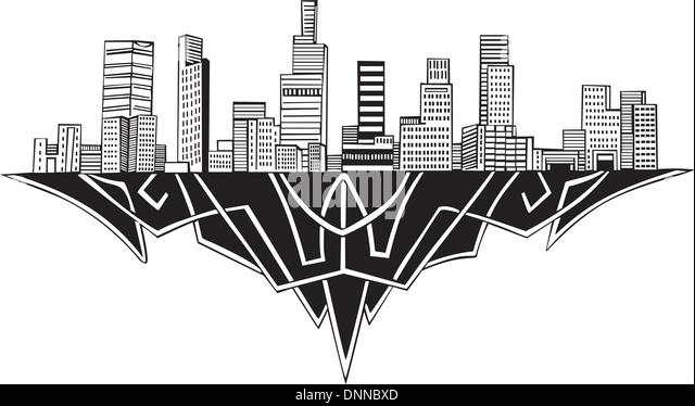 Los Angeles, CA Skyline. Black and white vector illustration EPS 8. - Stock Image