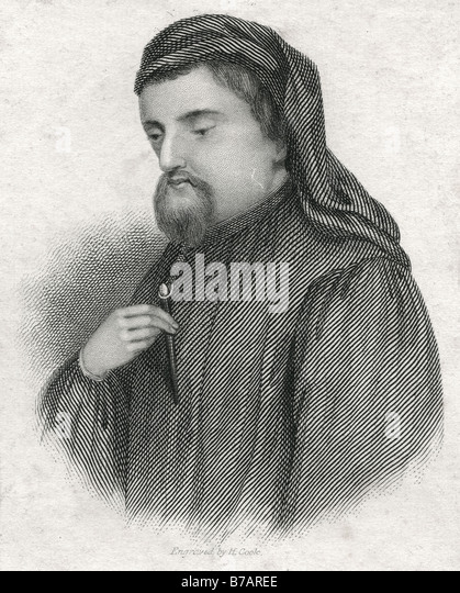 Geoffrey Chaucer (c. 1343 – 25 October 1400) was an English author, poet, philosopher, bureaucrat, courtier and - Stock Image