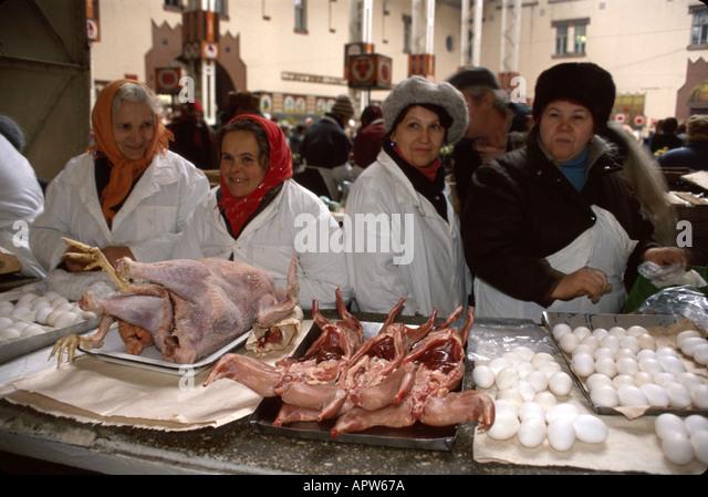 Ukraine Eastern Europe Kiev Bessarabka Covered Market chicken eggs vendors - Stock Image