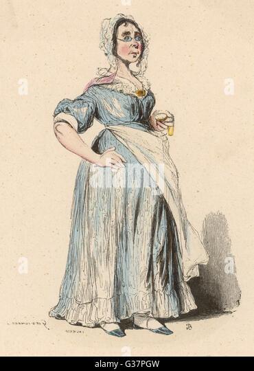 A Midwife          Date: 1850 - Stock-Bilder