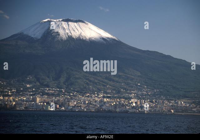 Italy Tyrrhenian Sea Naples Mt. Vesuvius snow capped volcano seen from hydrofoil ferry to Isle of Capri - Stock Image