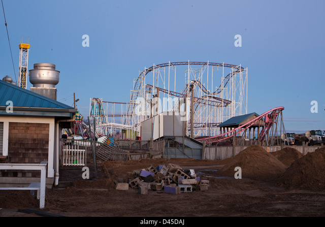 Wreckage around Keansburg Amusement Park, NJ due to Superstorm Sandy - Stock Image