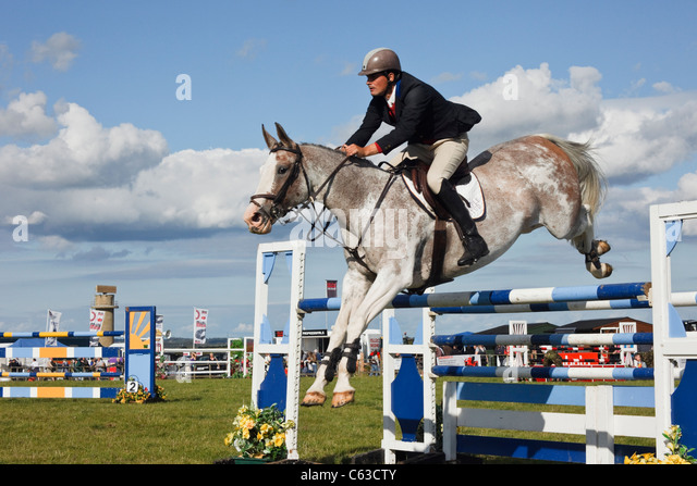 North Wales, UK. International show jumping event with horse and jockey jumping over jumps at Anglesey Show in Mona - Stock Image