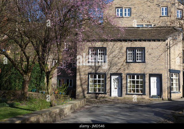 Houses in the village centre, Luddenden, West Yorkshire - Stock Image