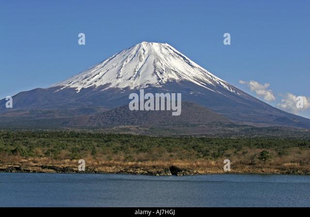 Mount Fuji view from Lake Shouji - Stock Image