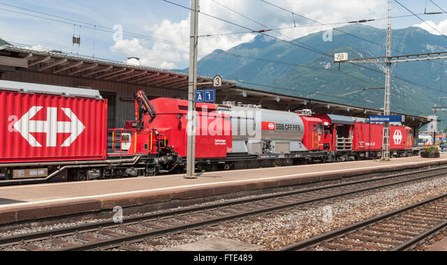 Firefighting and rescue train LRZ, based on a Windhoff MPV. Operated by SBB, the Swiss Federal Railways. - Stock Image