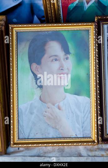 Myanmar, Mandalay, Mahamuni paya, Aung San Suu Kyi - Stock-Bilder