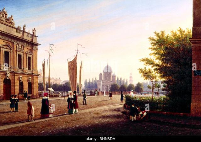 geography / travel, Germany, Berlin, bridge, Schlossbruecke, painting 'Berliner Schlossbruecke mit dem alten - Stock Image