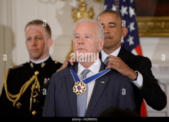Washington DC, USA. 12th Jan, 2017. United States President Barack Obama presents the Medal of Freedom to US Vice - Stock Image