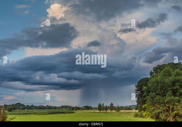 downpour, Cumulus congestus praecipitatio, Germany, Bavaria, Isental - Stock Image