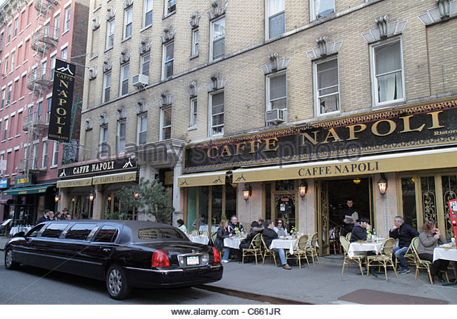 Lower Manhattan New York City NYC NY Little Italy Mulberry Street ethnic neighborhood street corner Caffe Napoli - Stock Image