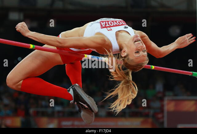Beijing, China. 29th Aug, 2015. Poland's Kamila Licwinko competes in the women's high jump final on Day - Stock-Bilder