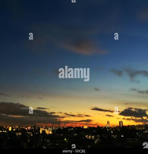 Sunset view with Yokohama, Japan skyline in the horizon. - Stock Image