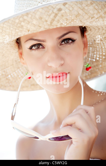 retro summer woman - Stock Image